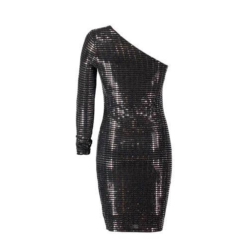 5bf51681b8f721 CoolCat one shoulder glitter jurk in 2019