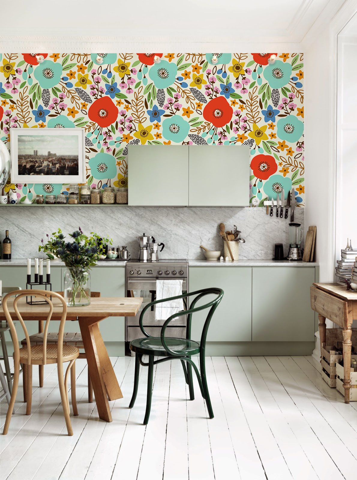 Meadow removable Wallpaper - traditional - white Print ... on Traditional Kitchen Wall Decor  id=83481