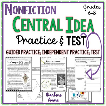 Nonfiction Central Idea Practice Worksheets Assessment Middle School English Central Idea Practices Worksheets Text Evidence