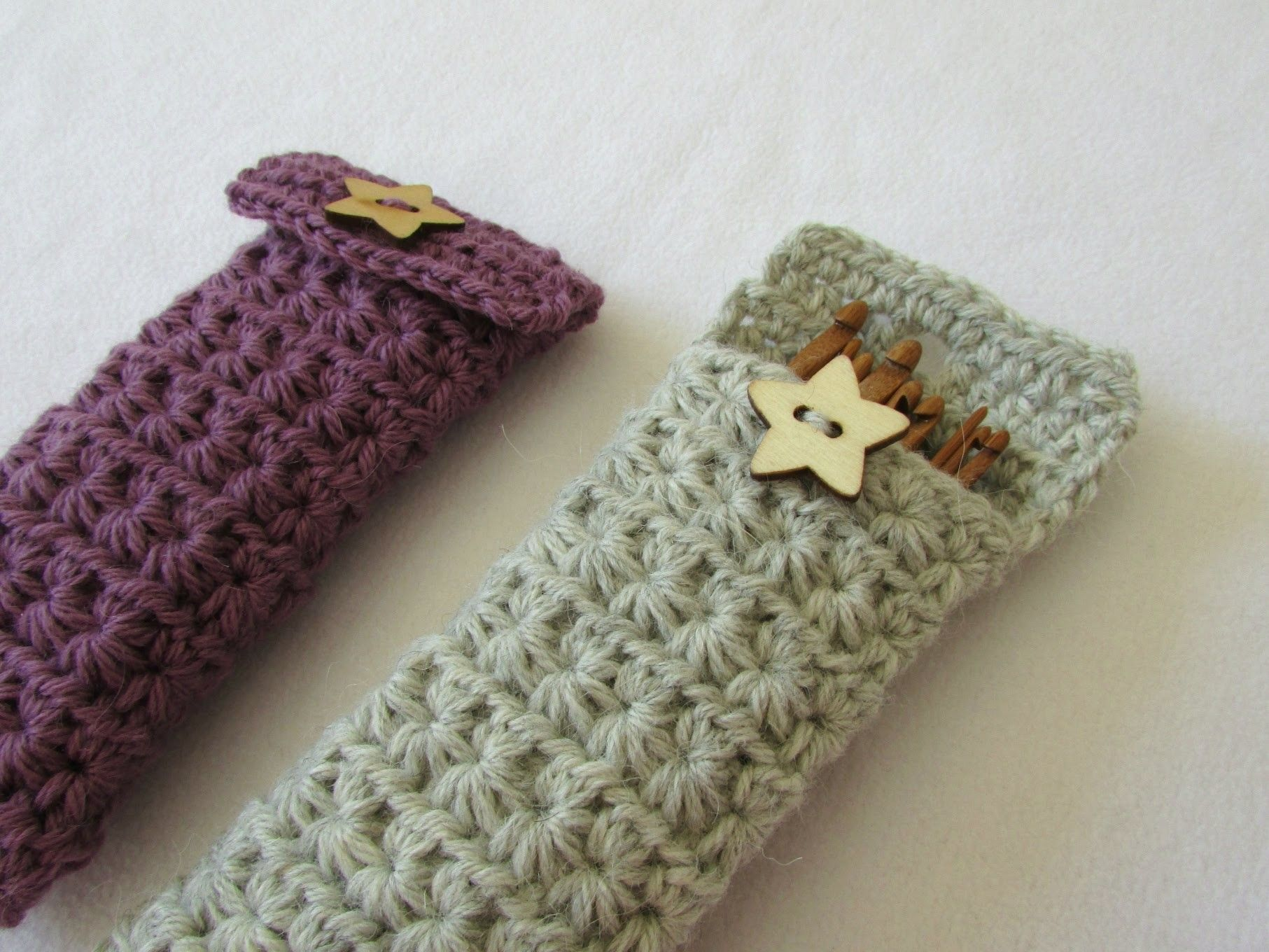 How to crochet a star stitch crochet hook case. holder #crochethooks