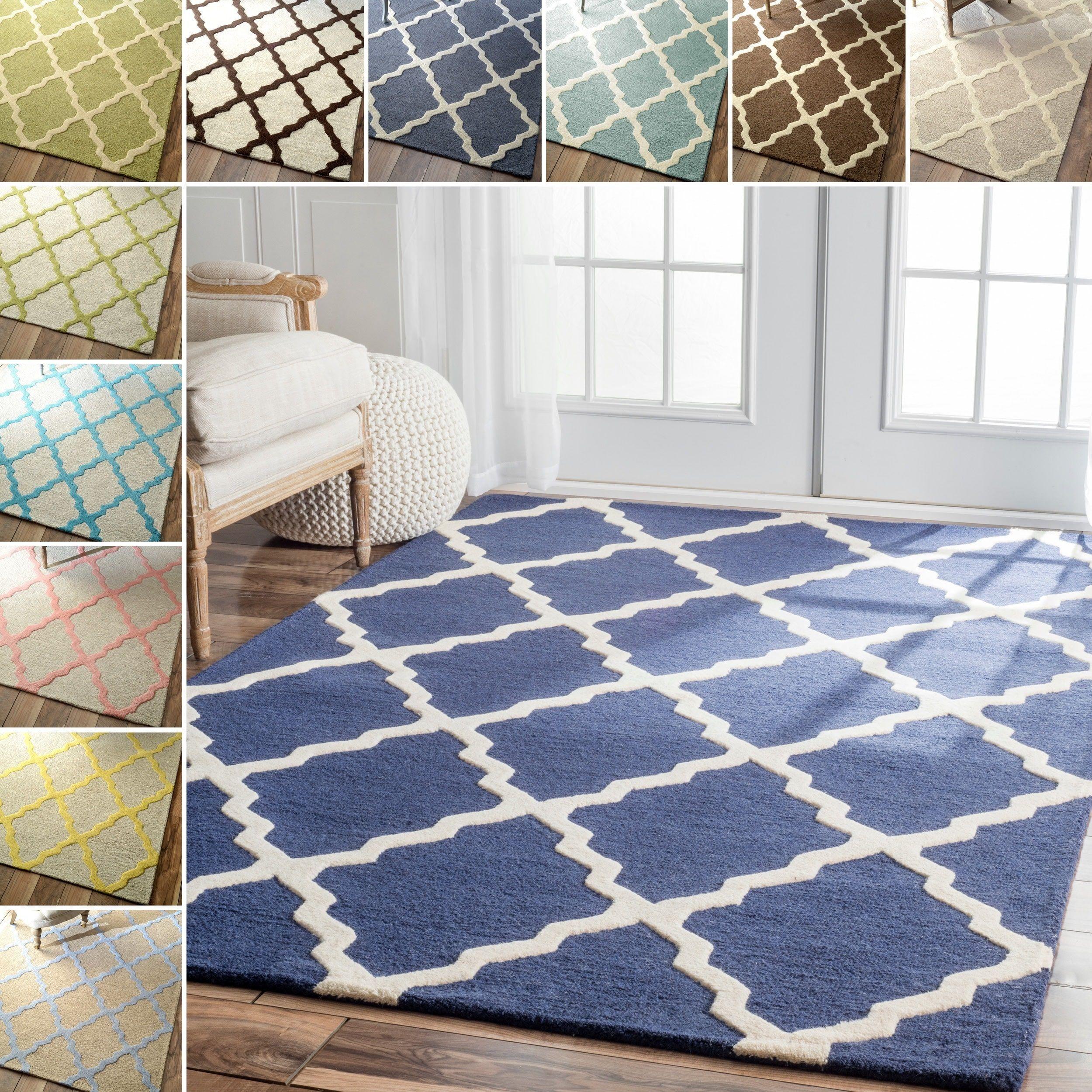 Blue Trellis Wool Rug