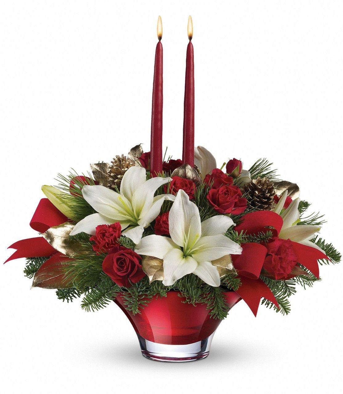 2020 Teleflora Christmas Containers Teleflora Crimson Glow Centerpiece | Christmas flower arrangements