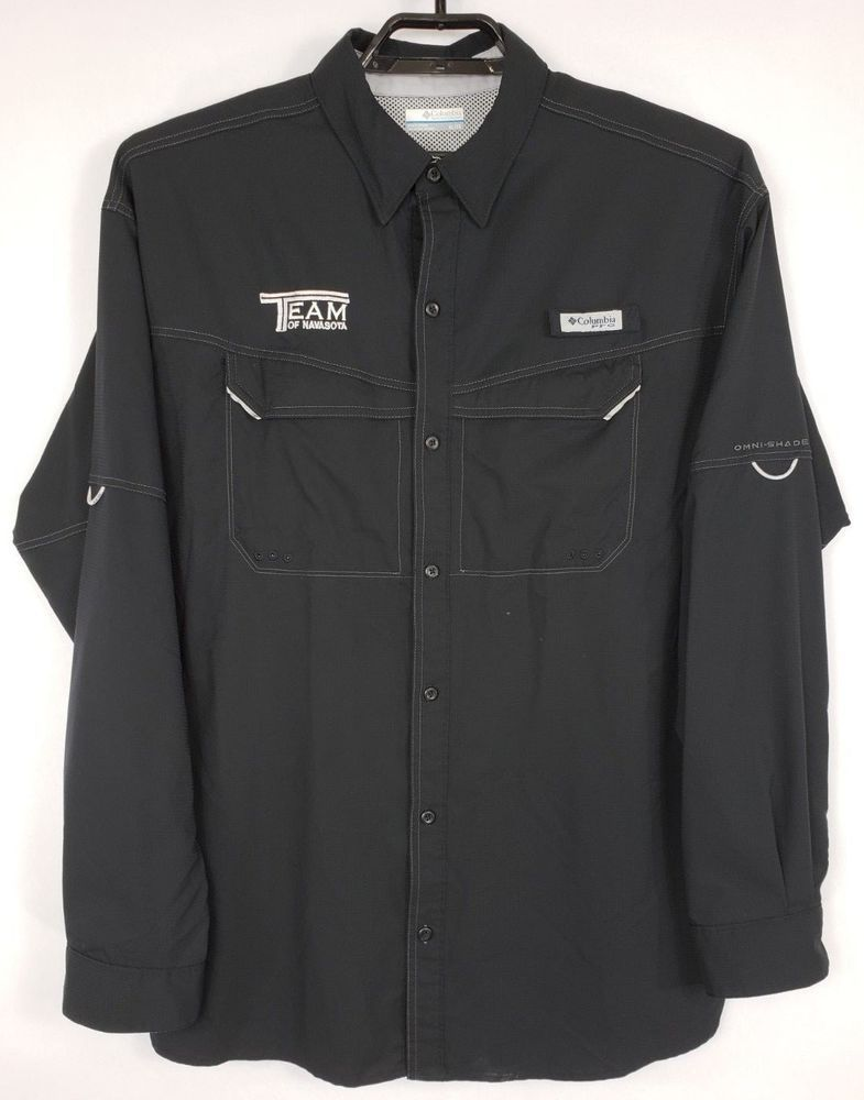 653f540f87d Columbia PFG Omni-shade Mens XL Black Button Up Long Sleeve Vented Fishing  Shirt #Columbia #ButtonFront