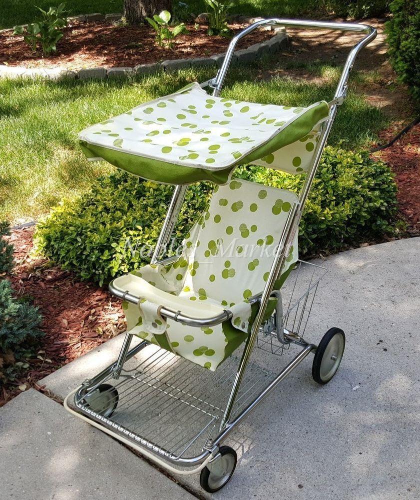 Vintage 1970s Strolee Napper Stroller Green White Polka