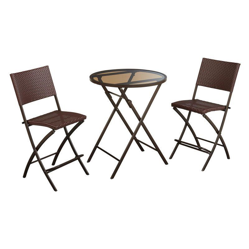 Outdoor Cosco Delray All Weather Wicker 3 Piece Round High Top