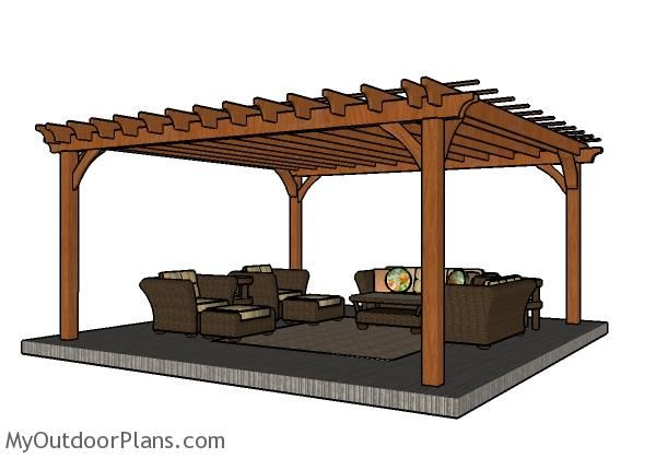 16x16 Pergola Plans Myoutdoorplans Free Woodworking Plans And Projects Diy Shed Wooden Playhouse Pergola In 2020 Pergola Plans Diy Pergola Plans Outdoor Pergola