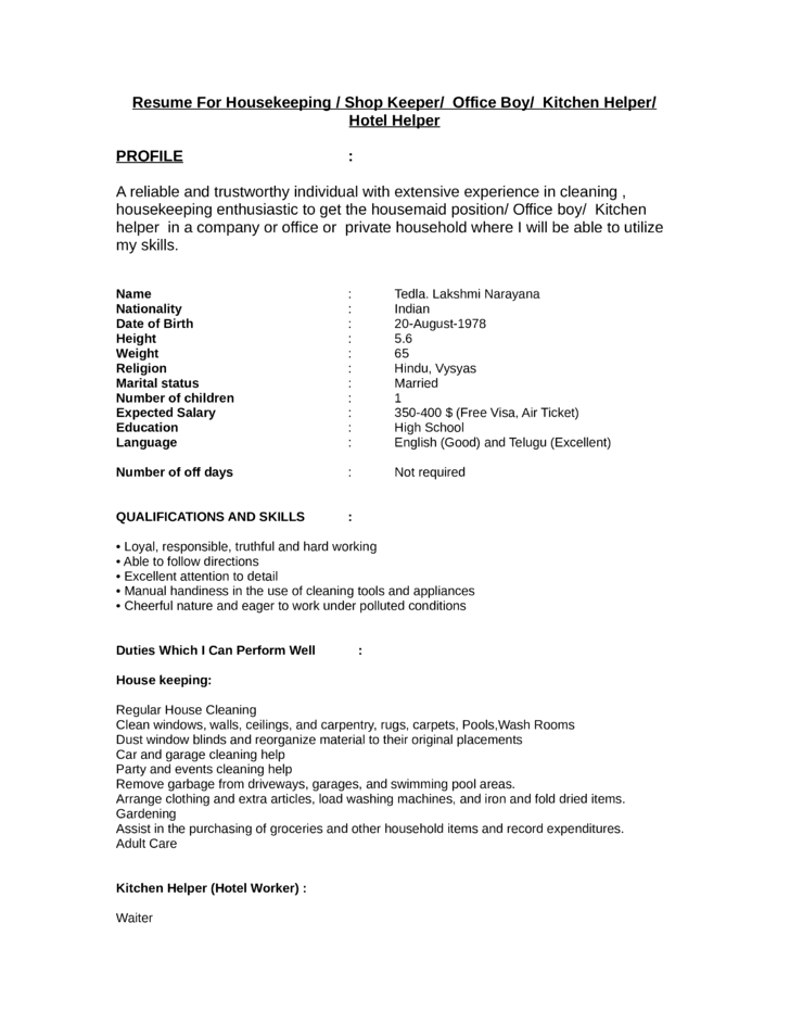 resume example of kitchen helper