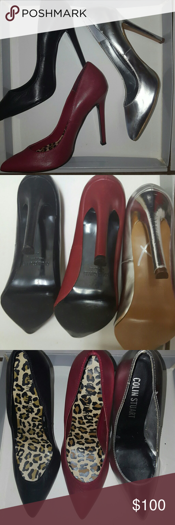 (Make offer)Colin Stuart Pumps - 3 pairs (Have to sell, make an offer!) Black, deep red, and sliver low cut pumps seen in Victoria's Secret. Red and black have been lightly used. Silver pair has only been tried on, but has some fraying. Colin Stuart Shoes Heels
