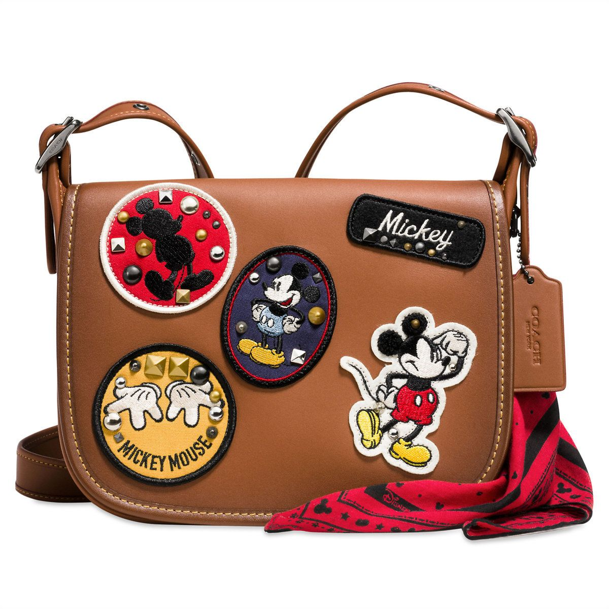 5a67751469bec Mickey Mouse Patch Patricia Leather Saddle Bag by COACH | Disney ...