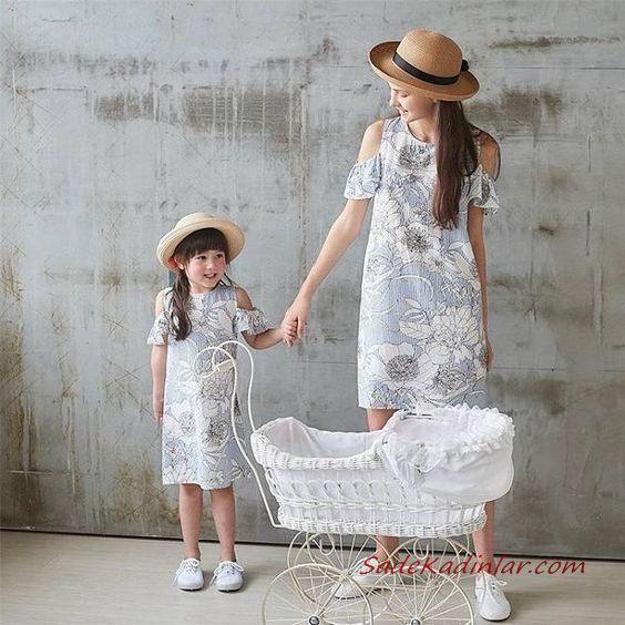 2020 Anne Kız Elbise ve Kıyafet Kombinleri Gri Dizboyu Kısa Kollu Çiçek Desenli Elbise | SadeKadınlar, Kıyafet Kombinleri #moda #fashion #fashionblogger #damenmode #mode #damenoutfits #outfits #kombin #annekız #annekızelbiseleri #annekızkıyafetleri #annebebekkombin #kombinleri #kombinönerileri #outfitsoftheday #girl #kıyafetkombinleri #şıkkombinler