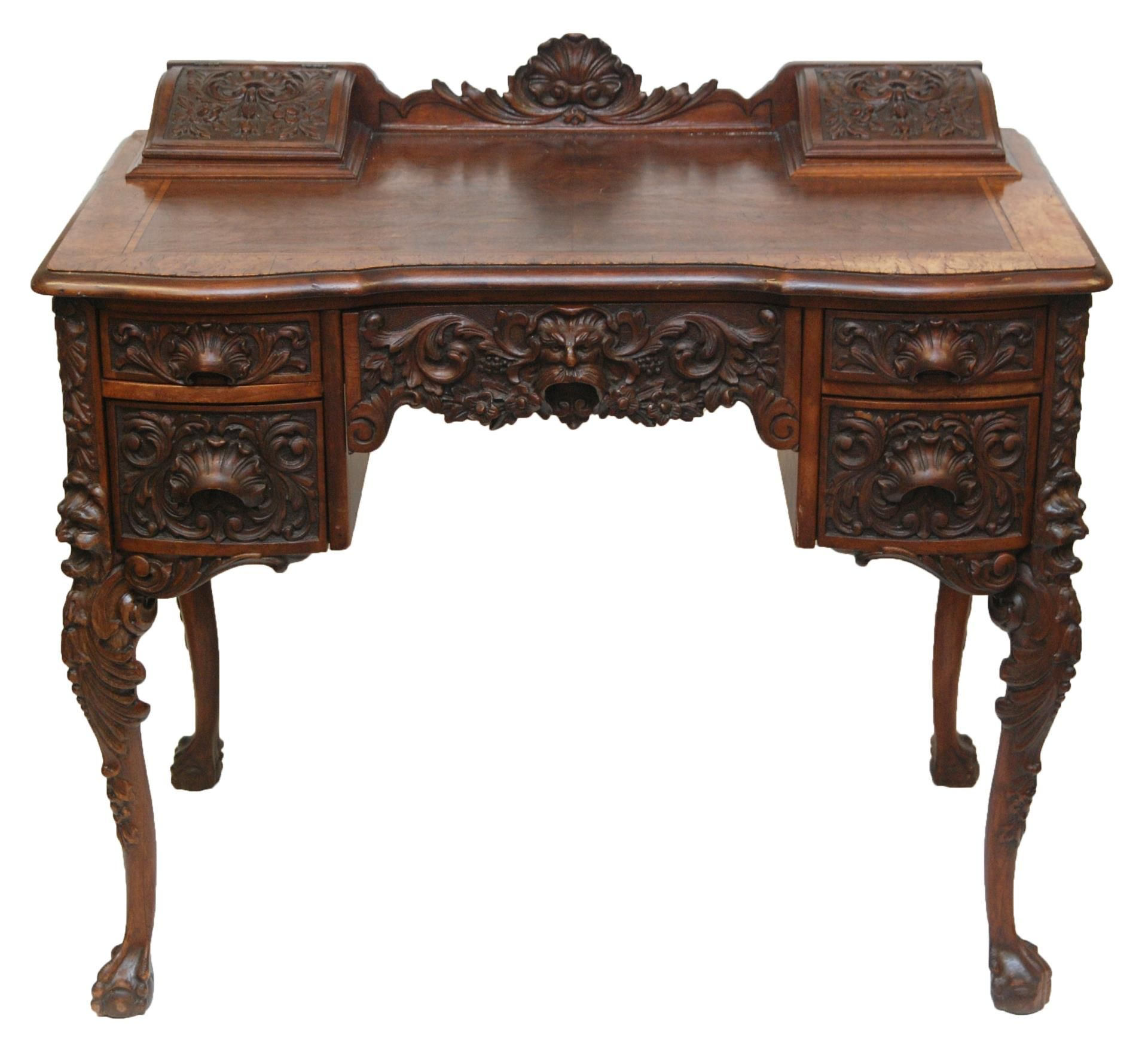 Mahogany Wood Desk ~ Highly carved mahogany wood writing desk love it