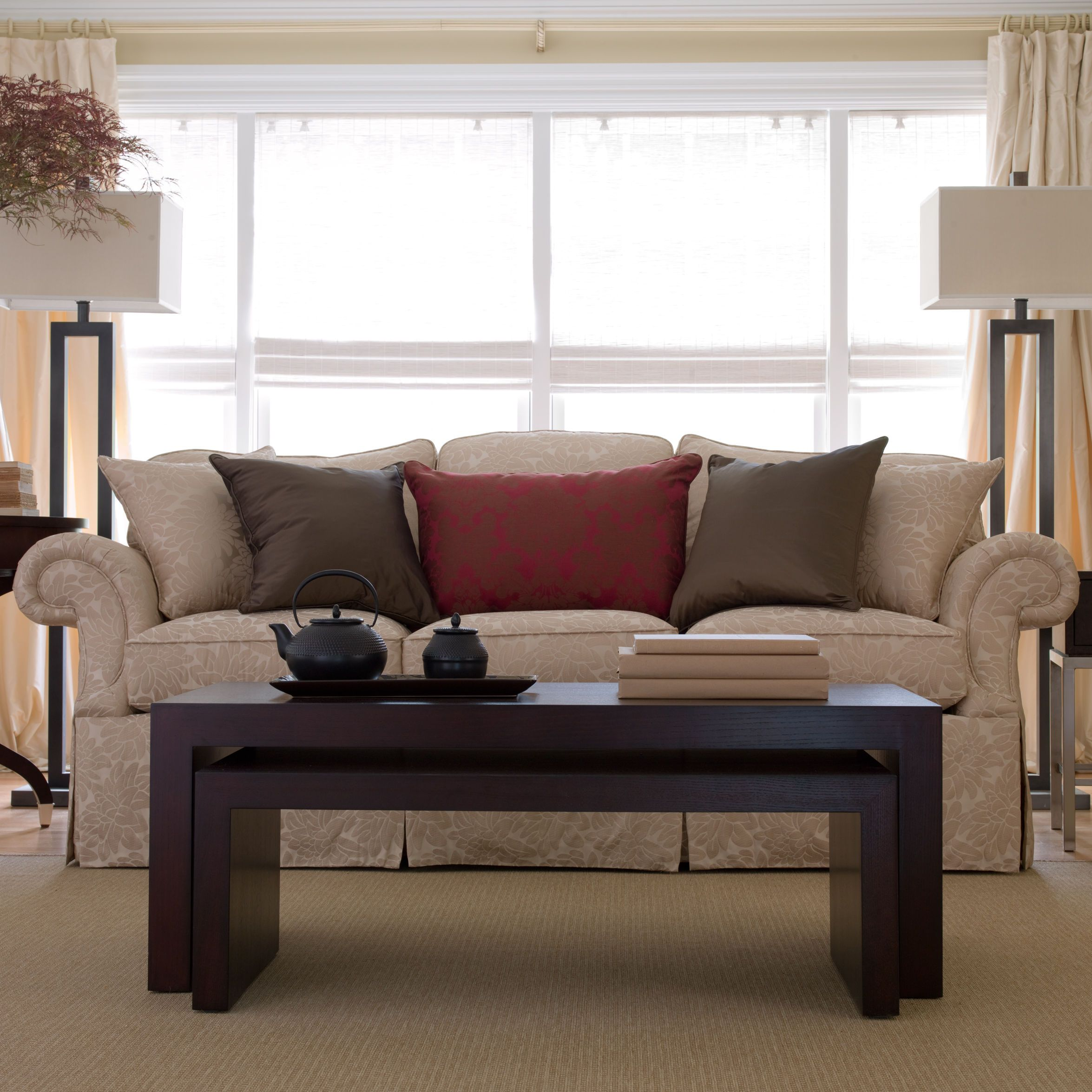 Ethan Allen Tufted Coffee Table: Neutral Living Rooms. Duo Coffee Tables