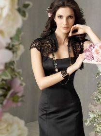 black satin tea length princess bridesmaid dress with lace bolero jacket