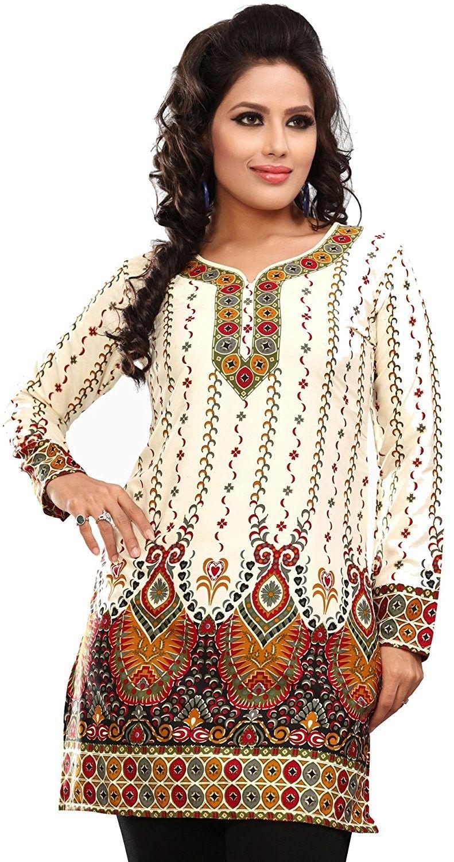 Long India Tunic Top Womens Kurti Printed Blouse Indian Clothing