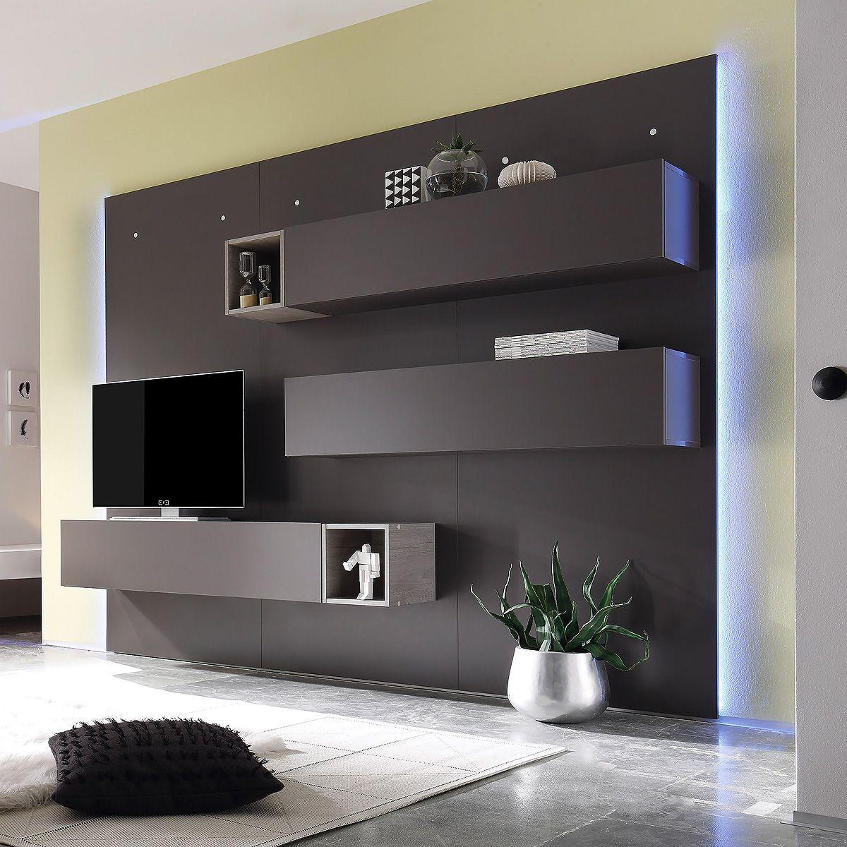 Ebay Angebot Wohnwand Cube 2 Kombi 2 Anbauwand Wohnkombi In Dunkel Grau Matt Und Eicheihr Q Living Room Decor Apartment Entertainment Room Decor Tv Wall Design