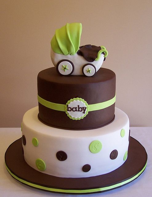 2 Tier Baby Shower Cakes Part - 36: Pram Baby Shower Cake By Cakespace - Beth (Chantilly Cake Designs), Via  Flickr