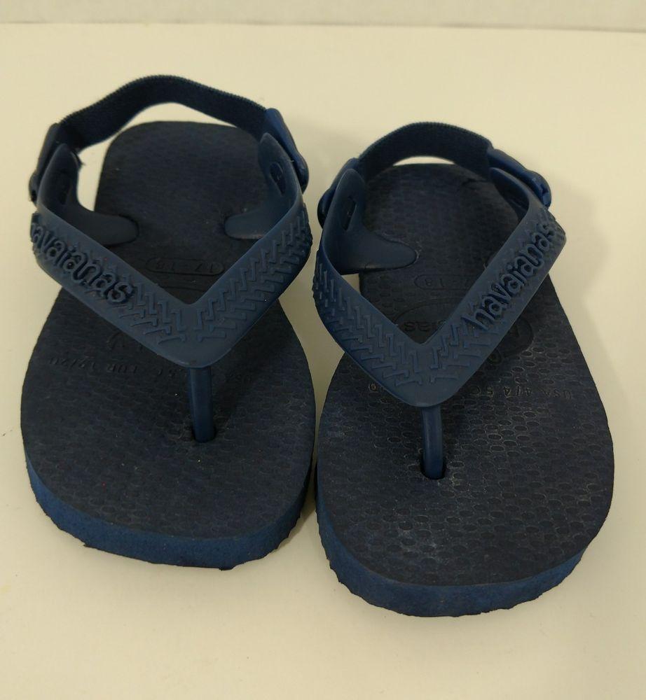 Havianas Baby Sz 4 9-12 Months Flip Flops Shoe Strap Blue Navy Boys Girls  Infant  Havaianas  FlipFlops 936f9c09bc4e