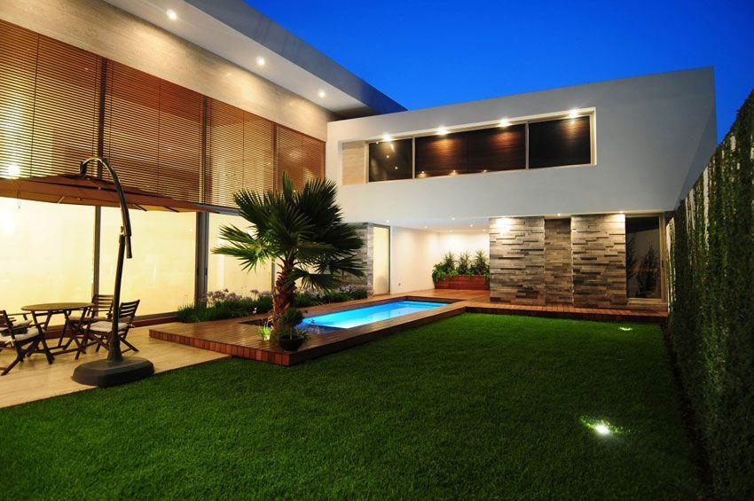modernbackyard Modern House Exotic Backyard at Night Modern