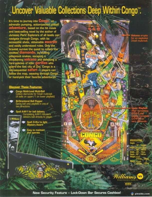 Congo Williams Leaflet November 1995 Pinball Flyer Arcade