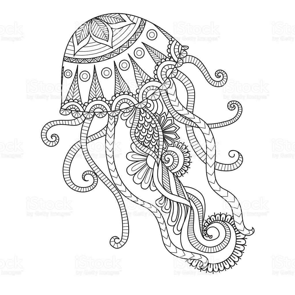 Hand Drawn Jellyfish For Coloring Page Logo T Shirt