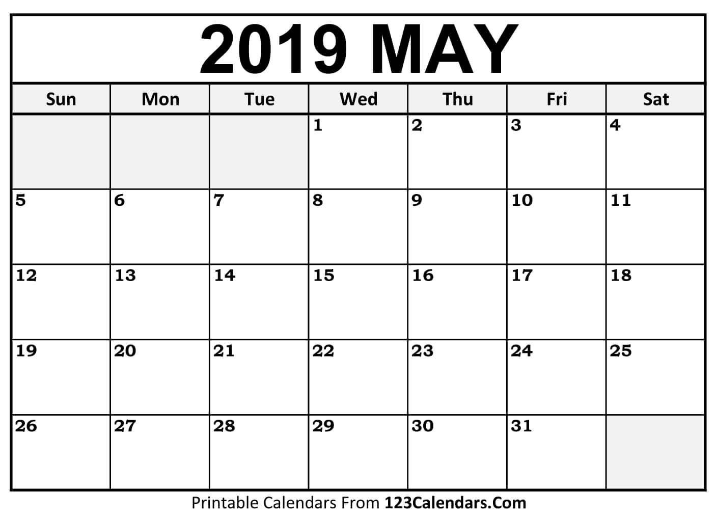May 2019 Calendar Printable Template Blank Editable Word Pdf Excel