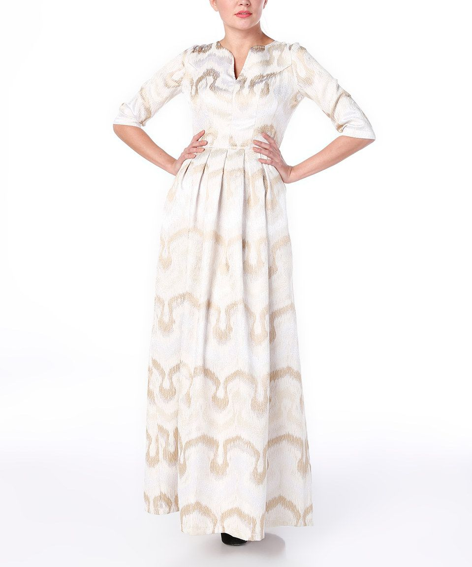 Another great find on zulily beige u gold ikat pocket maxi dress