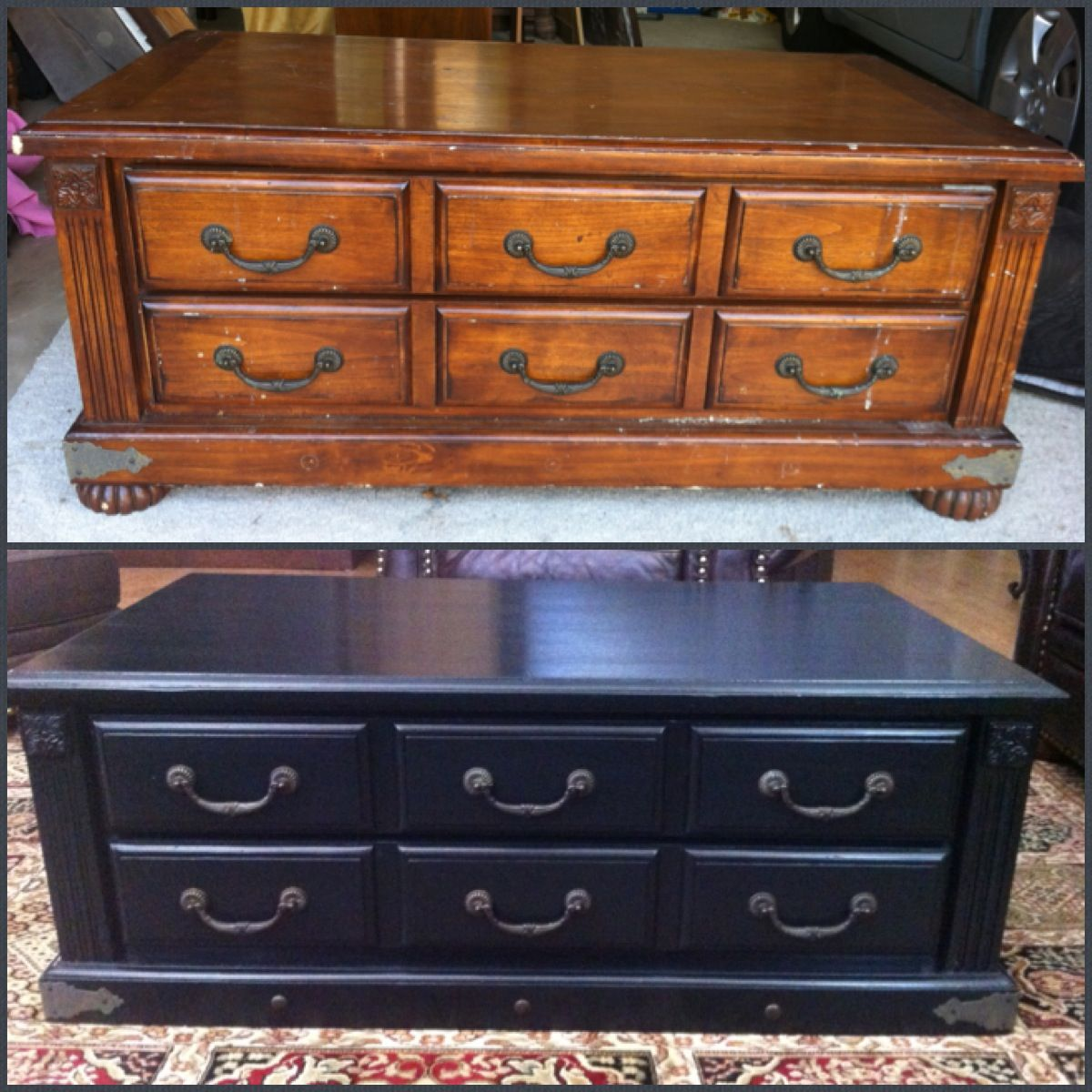 Before And After Coffee Table In Maison Blanche Chalk