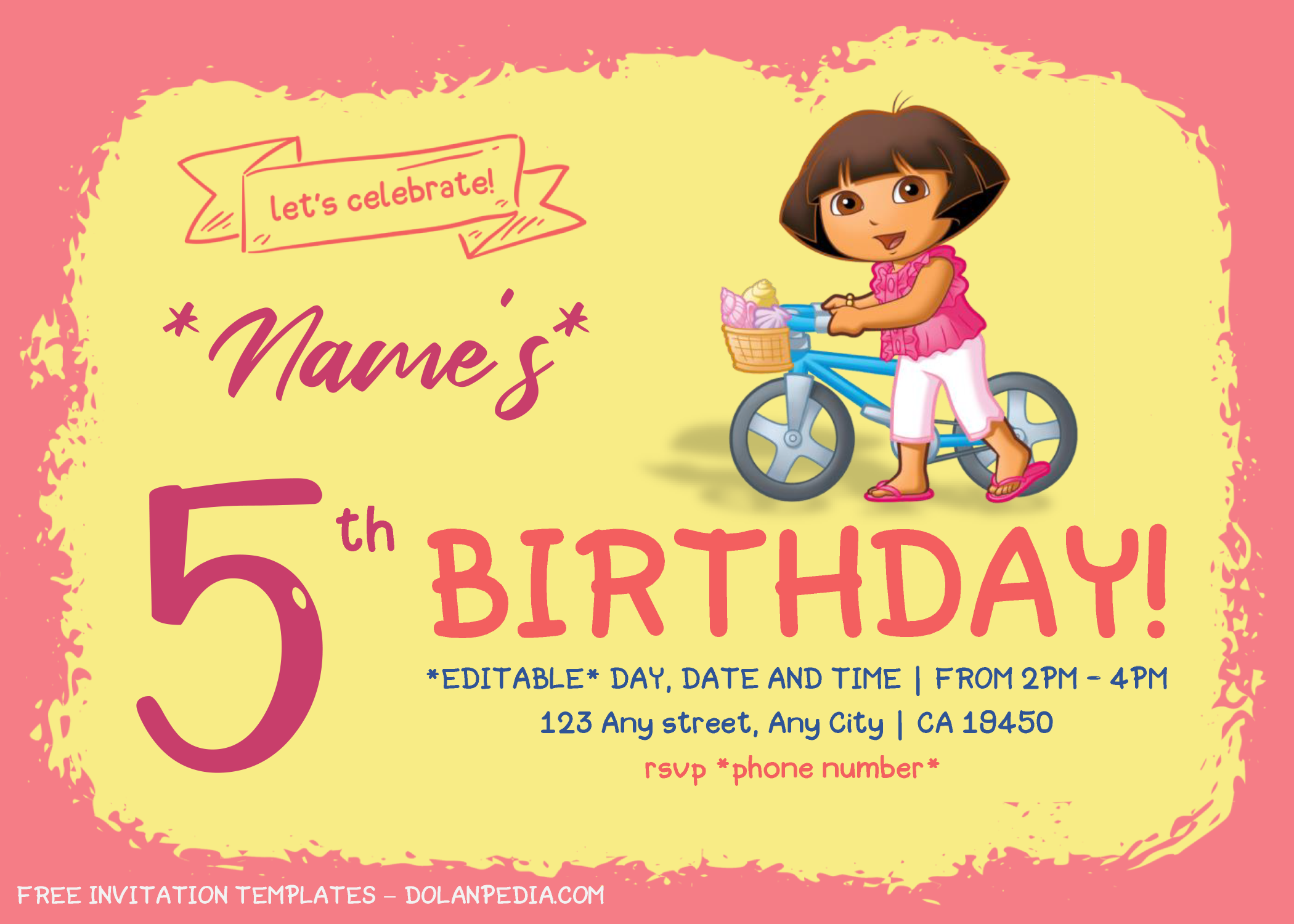 Dora The Explorer Birthday Invitation Templates Editable With Microsoft Word In 2020 Birthday Invitation Templates Invitation Template Birthday Invitations
