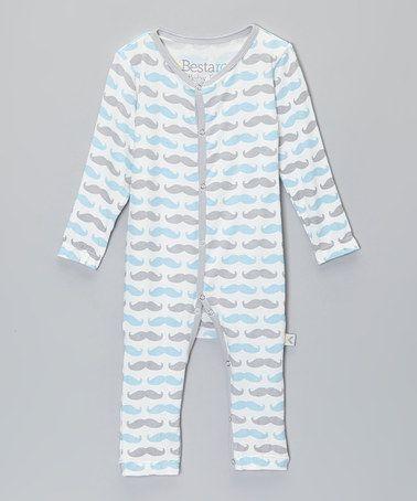 Blue Mustache Playsuit - Infant #zulily #zulilyfinds