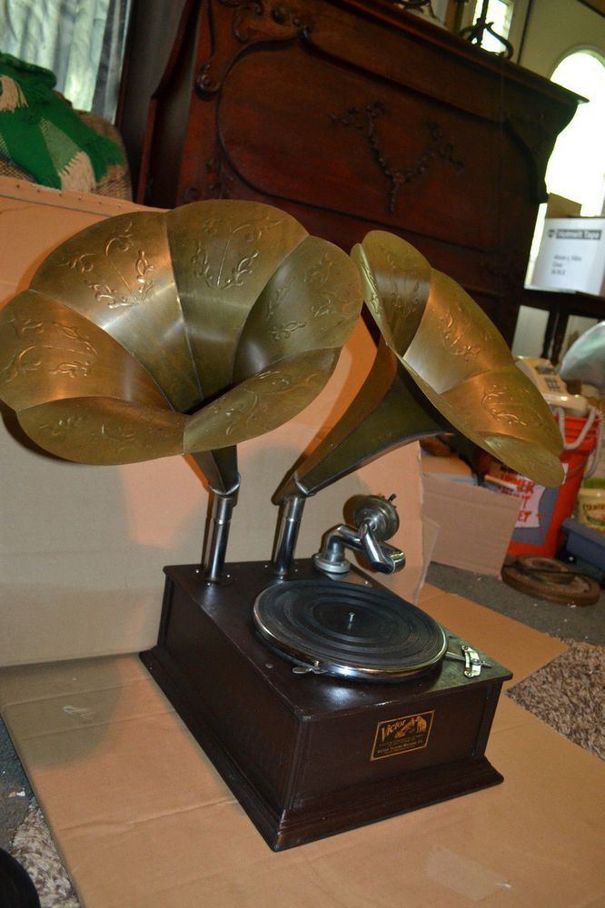 Vintage Victor Talking Machine Co Phonograph Record Player Dual Horn Phonograph Phonograph Record Player Talking Machines