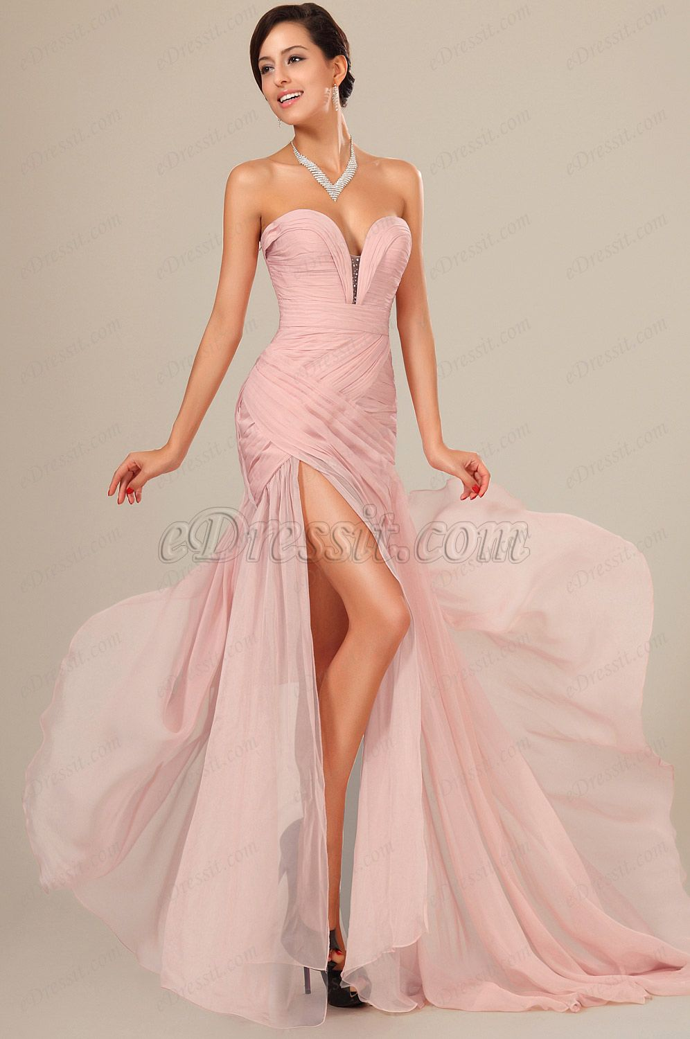 Pink sweetheart ruched bodice evening dress fashion pinterest