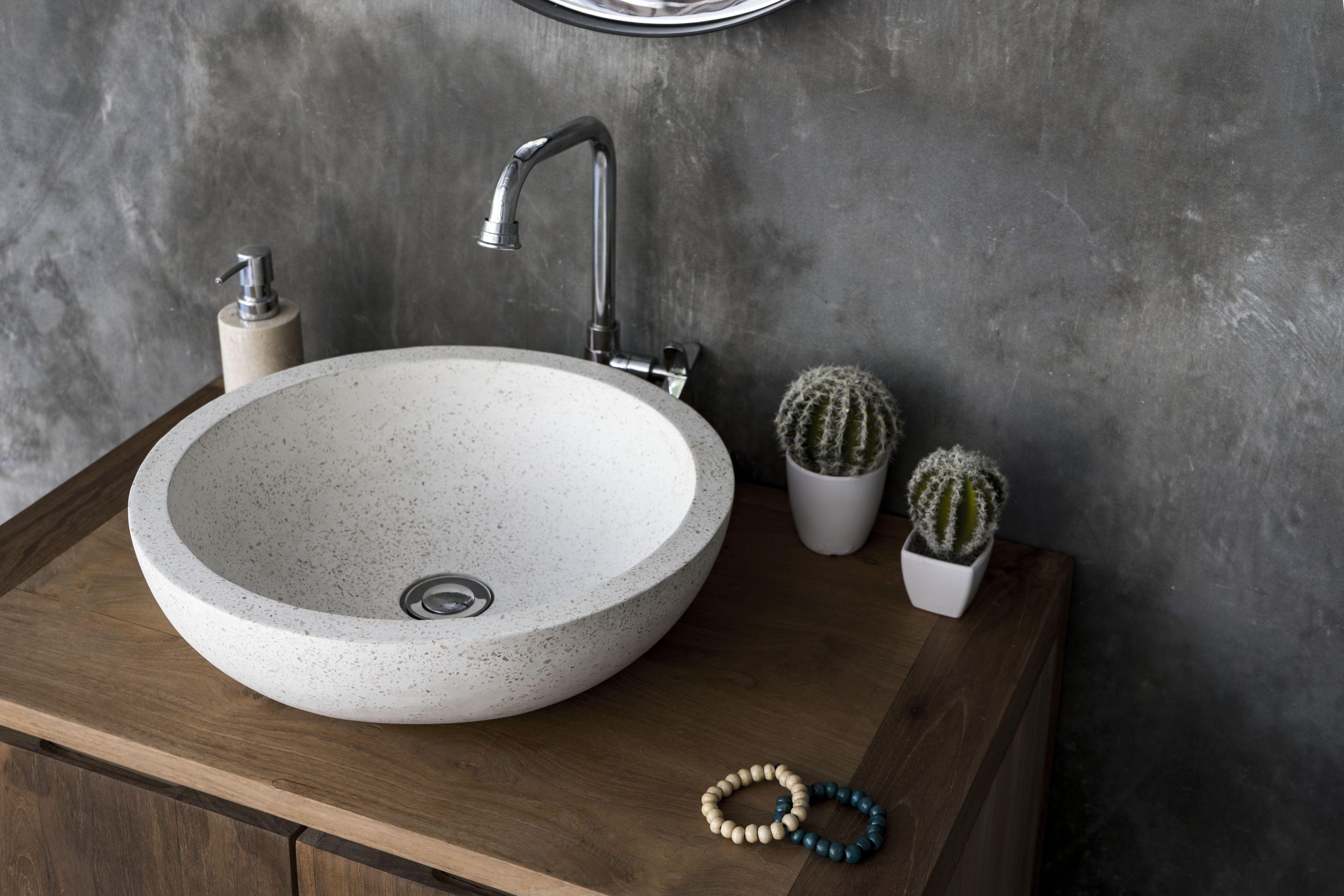 The Cerchio White Terrazzo Basin Bathroom Basin Ideas Trendy Basin Bathroom Styling Bathroom Basin Ideas Modern Bathroom Design Bathroom Styling Bathroom basin design ideas