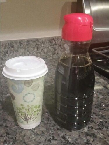 Recycle creamer containers for left over coffee. BAM iced coffee ready at the AM.