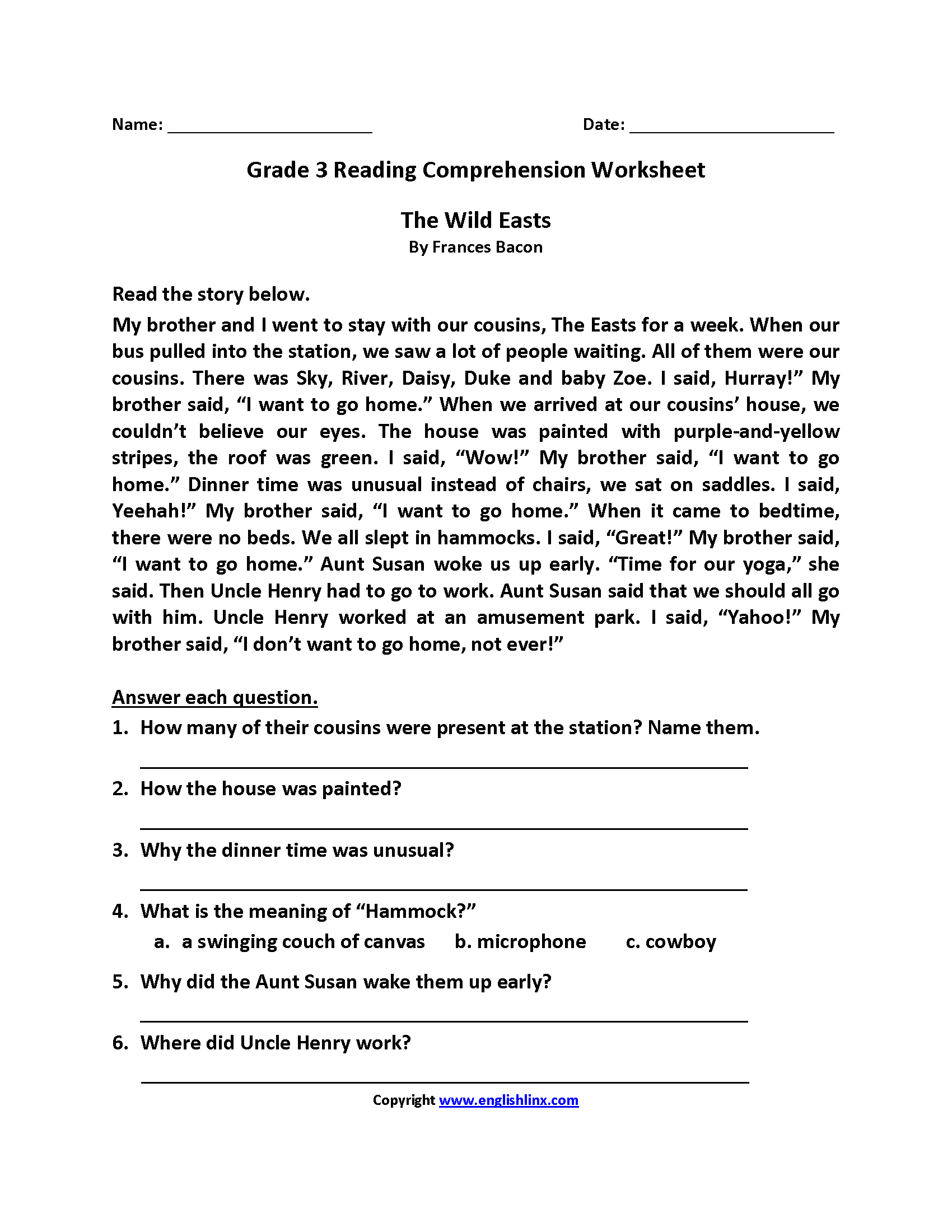 Wild Easts Third Grade Reading Worksheets durre maknoon
