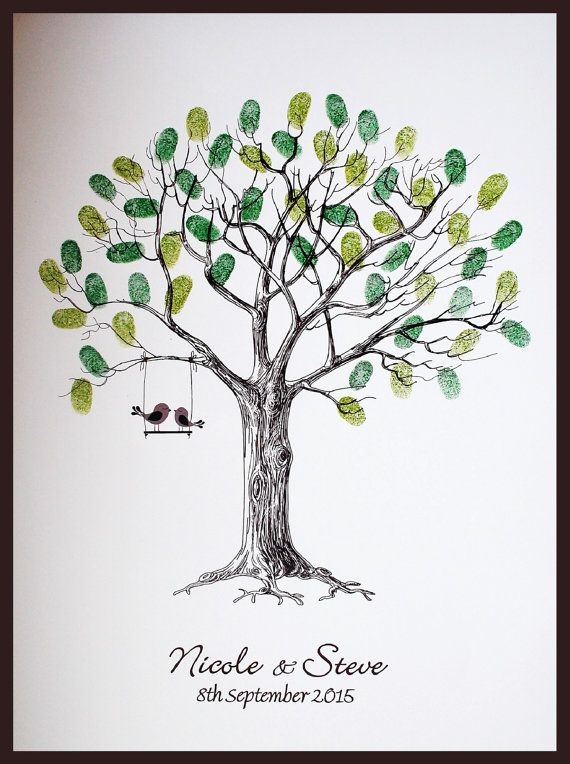 Baum Mit Fingerabdruck Hochzeit Personalised Wedding Fingerprint Tree With Love Birds