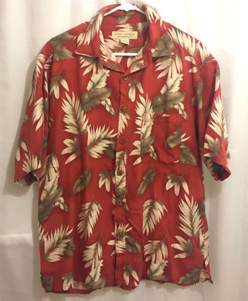 b2b541ad0 Mens Island Republic Hawaiian Aloha Shirt L Red Leaves #IslandRepublic # Hawaiian