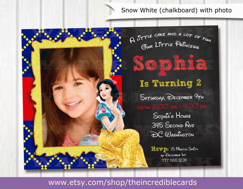 Snow White Party  Snow White Chalkboard Invitation  Snow White