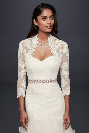 Beaded Lace 3 4 Sleeve Jacket David S Bridal Wedding Dress Jacket Dress Topper Wedding Dress Accessories