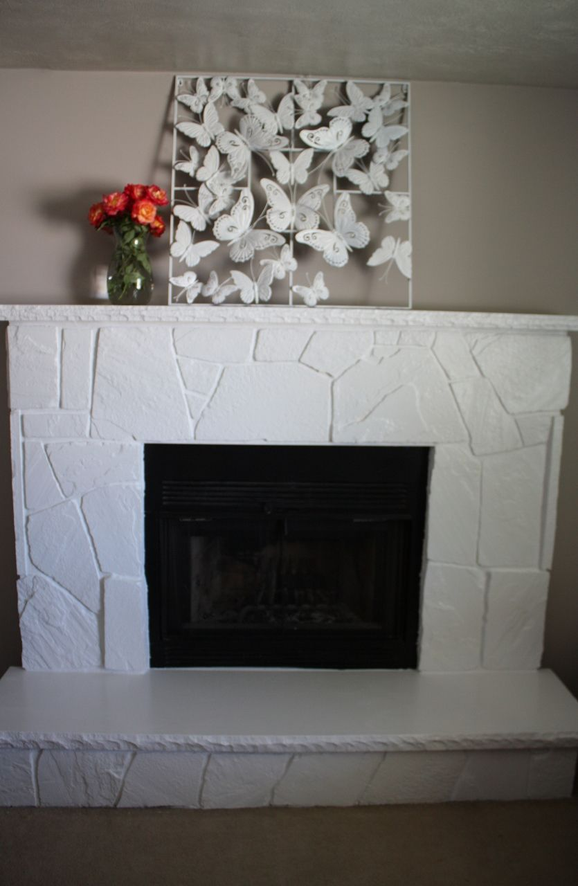 Love This White Painted Stone Fireplace Makeover By My Neighbor