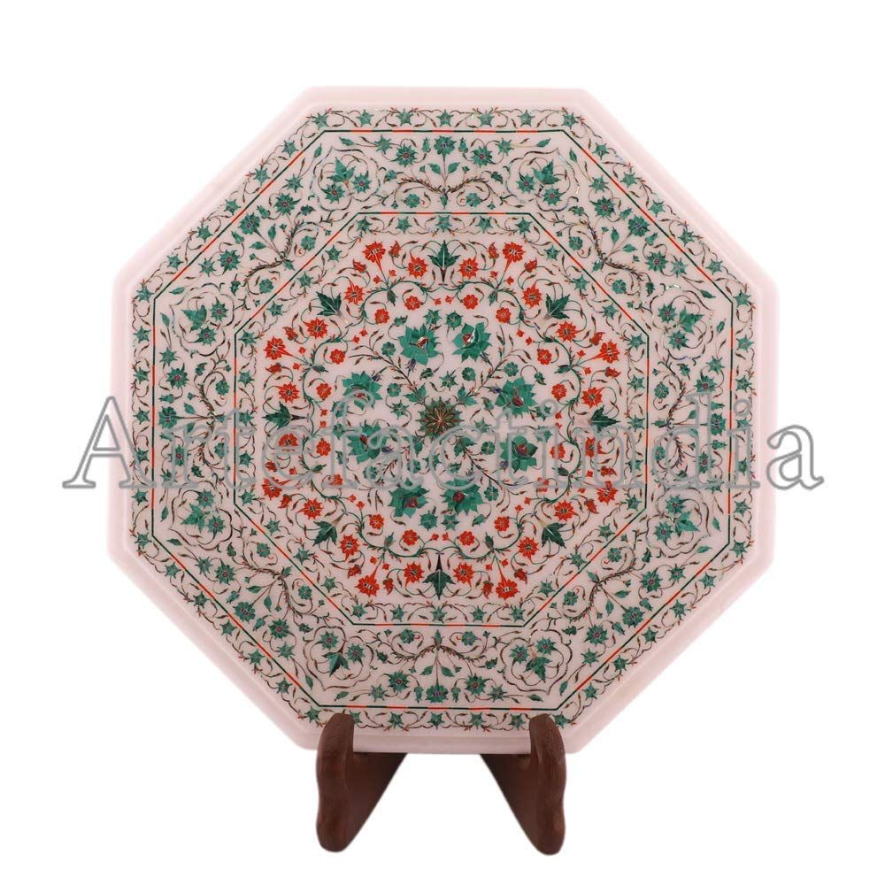 Artefactindia Small Side Table Top Floral Inlay Gemstone
