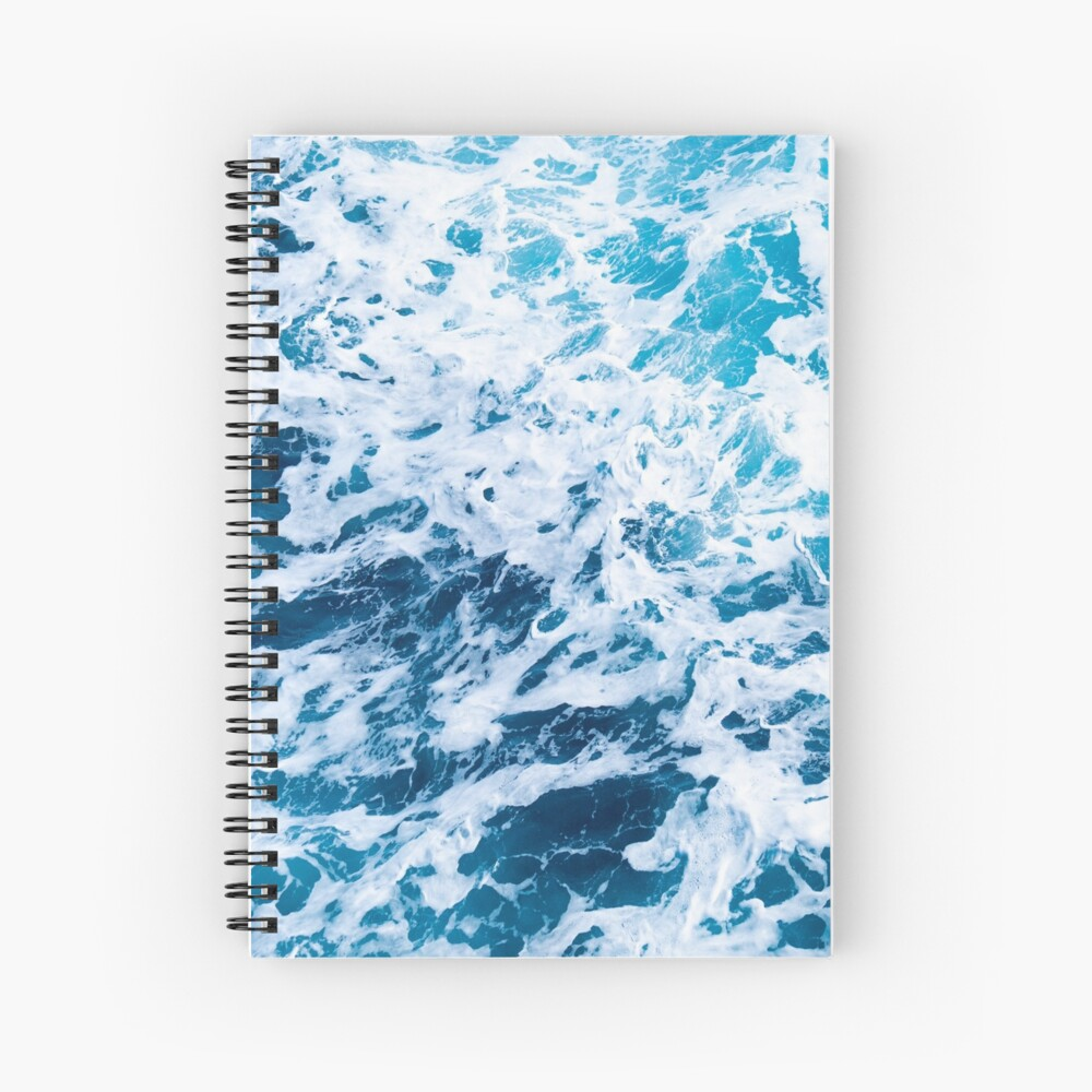 'oceanic waters blue sea waves ' Spiral Notebook by mynozzz