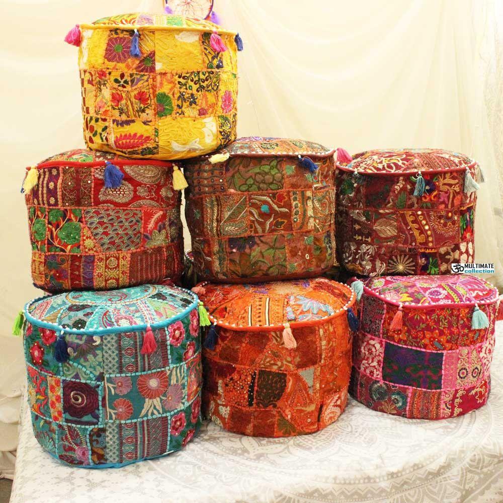 Indian Pouf Ottoman Cover Big Bohemian Bean Bag Floor Cushion Boho