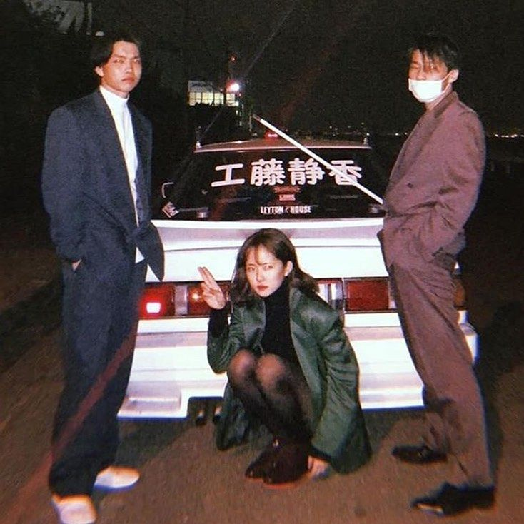 Group, Japanese, Cars. love that its low quality and at night