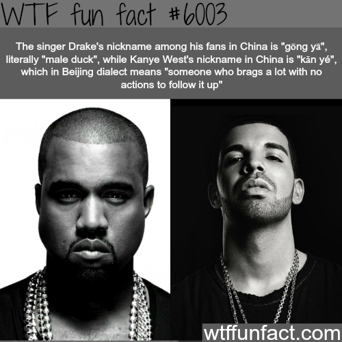 Drake and kanye west s nicknames in china wtf fun facts for Fun facts about drake