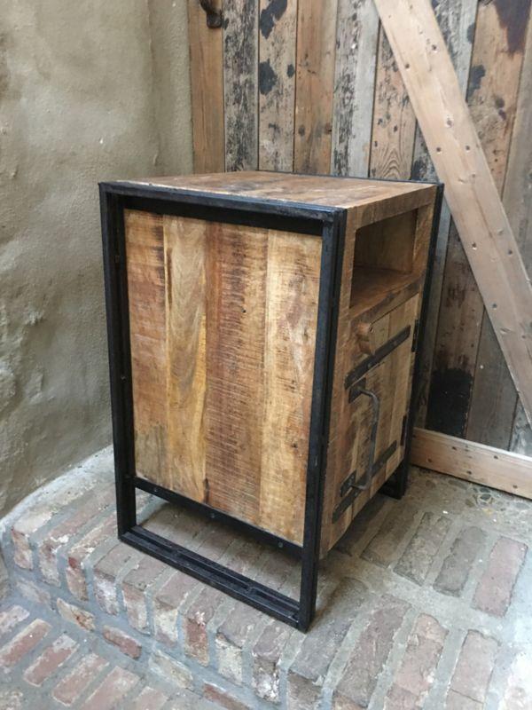 Nieuw Stoer houten industriele landelijke kastjes nachtkastjes kastje OX-06