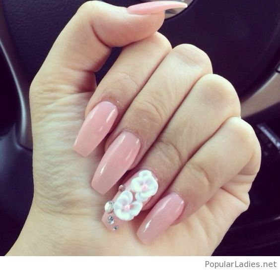 Long Light Pink Coffin Nails With Floral Detail