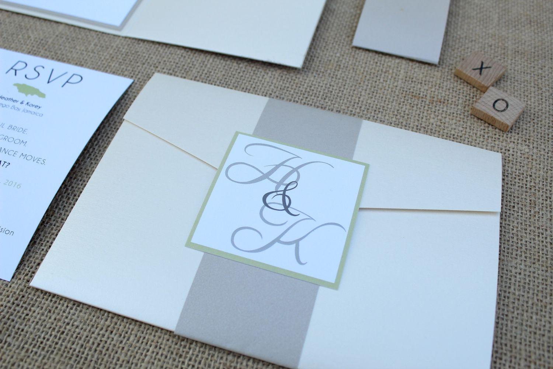 destination wedding pocket invitation suite with monogram belly band ...