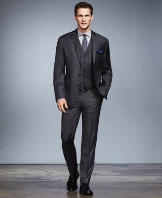 Ryan Seacrest Distinction Grey Tonal Plaid Three-Piece Suit Separates, Only at Macy's