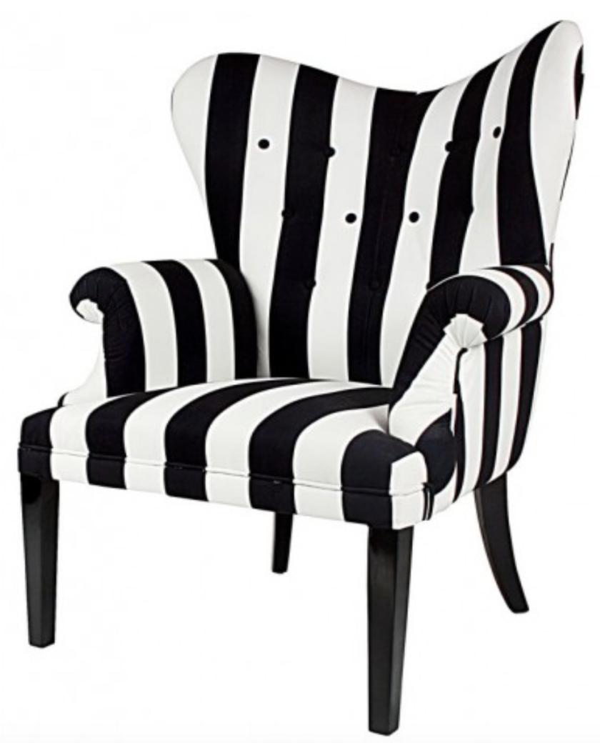 Louis Heart Arm Chair   Black U0026 White Stripe U2013 Allissias Attic U0026 Vintage  French Style