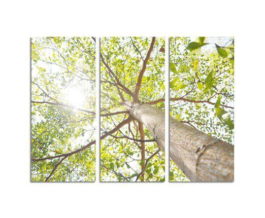 130x90cm - 3 teiliges Wandbild je 40x90cm grüner Baum Bild auf - bild schlafzimmer leinwand